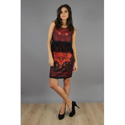 robe 101 idées droite à franges et imprimé rouge