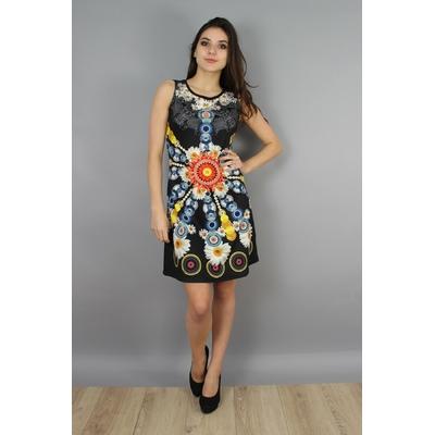 robe 101 idées évasée à imprimé fleuri noir