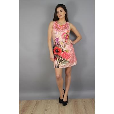 robe 101 idées droite à imprimé fleuri rose