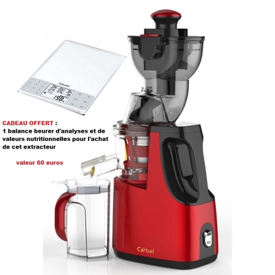 extracteur de Jus carbel GG rouge avec en cadeau une Balance beurer d'Analyse et de Valeurs Nutritionnelles offerte