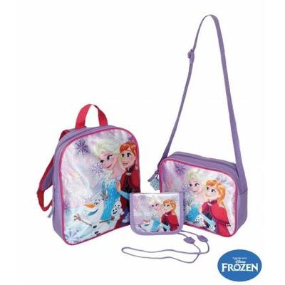 Disney La Reine des neiges Set composé de 3 pièces : Sac à dos, sac en bandoulière, petit porte-monnaie avec bandoulière et porte-clefs