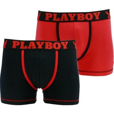 boxers playboy homme classic cool lot de 2 noir rouge et rouge