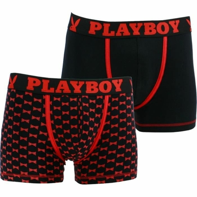 boxers playboy homme classic cool lot de 2 cool noir rouge et imprime noeud