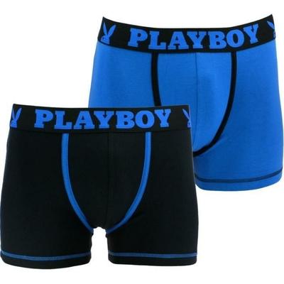 boxers playboy homme classic cool lot de 2 noir bleu et bleu