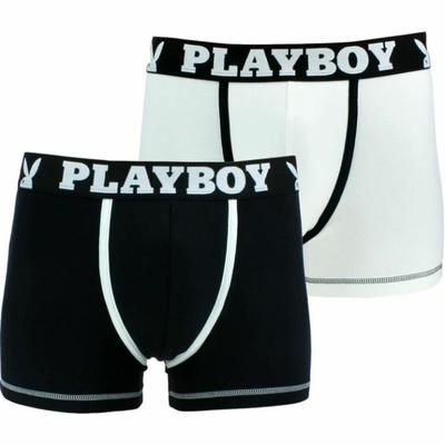 boxer playboy homme classic cool lot de 2 noir blanc et blanc