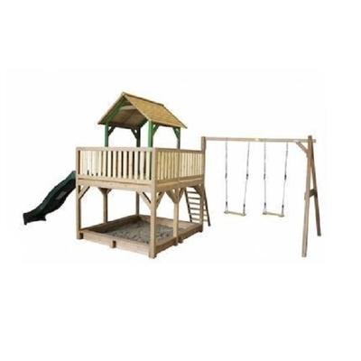 AXI maison enfant exterieur en bois Atka avec Double balançoires