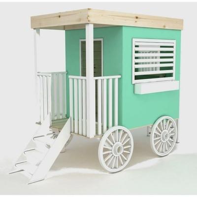 Maisonette enfant en bois sur roues Western Cabane Vanille Fraise. livraison sous 1 mois