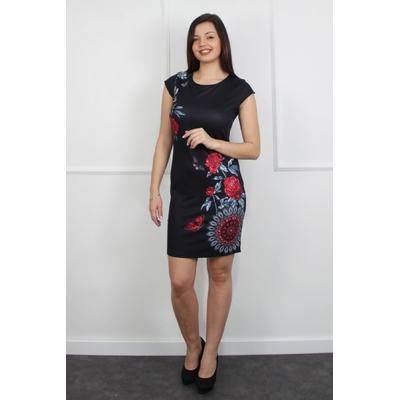 robe 101 idées droite à imprimé noir EO-M0119-NR
