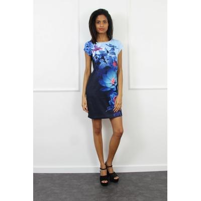 robe 101 idées à imprimé géométrique bleu EO-B2401-BL