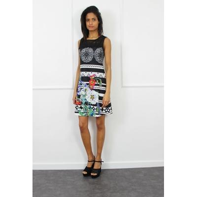 robe 101 idées femme sans manches imprimé noir a2801