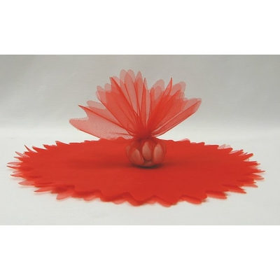10 ronds voile brillant rouge