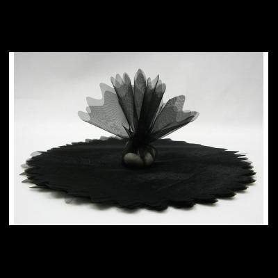10 ronds voile brillant noir
