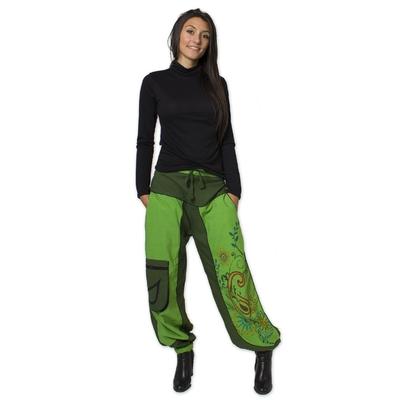 PANTALON narmada vert coton du monde s au xxl