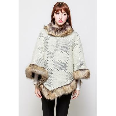 poncho femme en laine bouillie beige mademoiselle agnès taille unique 38-40