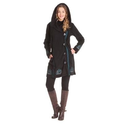 Manteau polaire noir avec fermeture 4 boutons capuche ve4516