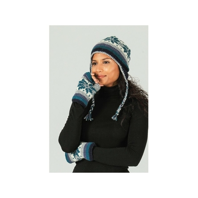 Bonnet style péruvien motif flocon bleu