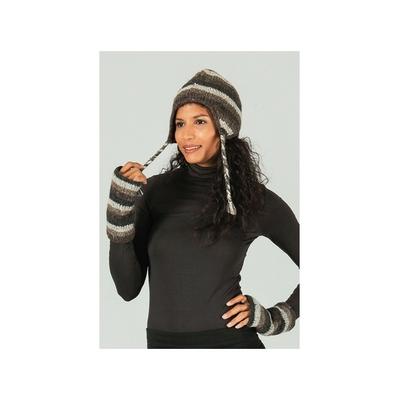 Bonnet style péruvien à rayures gris  marron