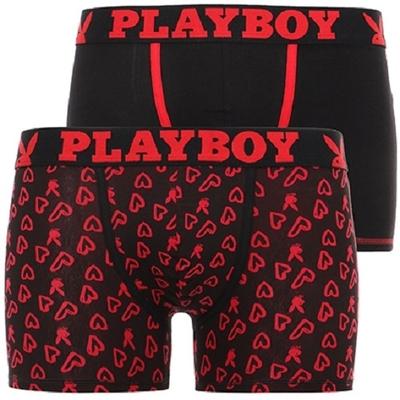 boxer playboy homme classic cool lot de 2 cool noir rouge et imprime coeur