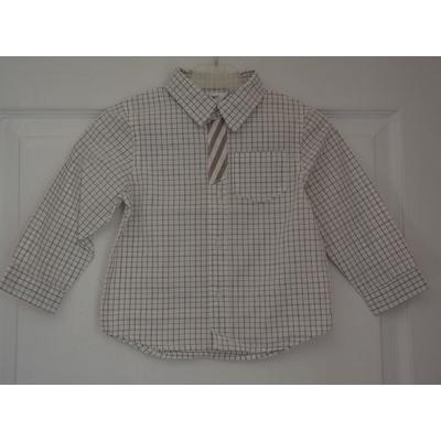 chemise beige carreaux garçon 24 mois kidkanaï