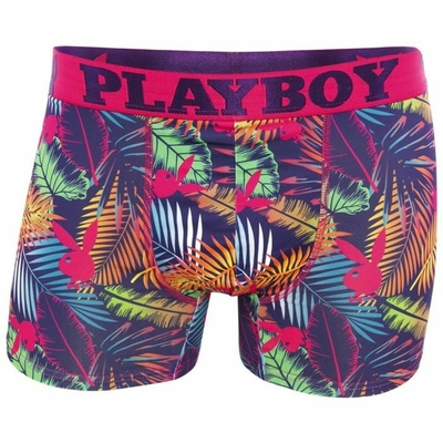 Boxer long multicolore en polyester stretch trendy imprimé jungle playboy