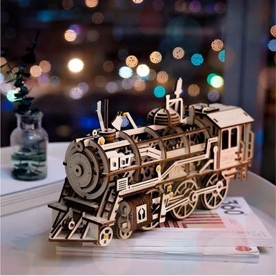 puzzle 3D en bois avec mouvement tracteur horloge locomotive dirigeable