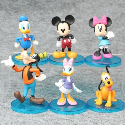 lot 6 figurines mickey 7-9 cm disney