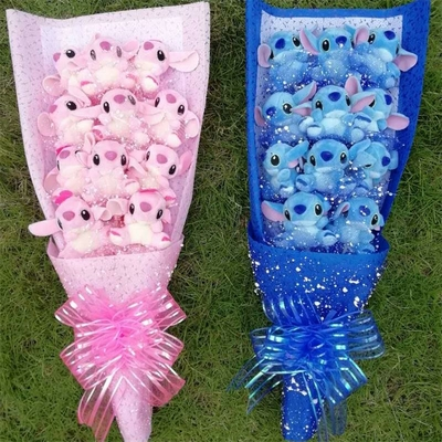 bouquet de peluche stitch rose ou bleu hemeng