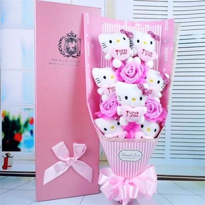 bouquet de peluche hello kitty bleu ou rose hemeng