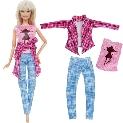 ensemble pantalon tee shirt chemise pour barbie bjdbus