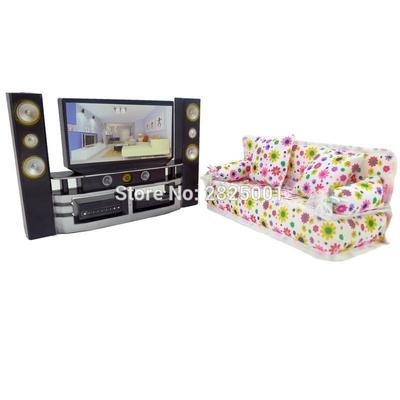 lot salon canape et meuble tv hifi pour barbie bjdbus