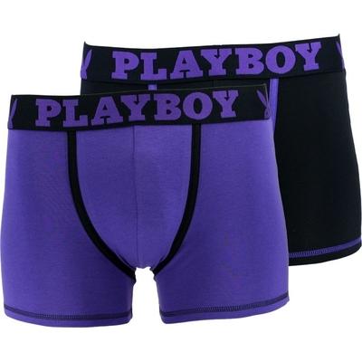 Lot de 2 boxers longs noir et violet en coton stretch classic cool playboy