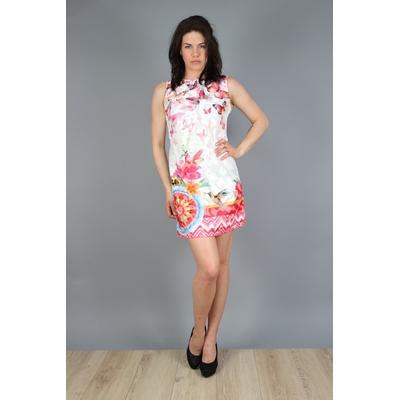 robe 101 idées droite zippée à imprimé graphique rose