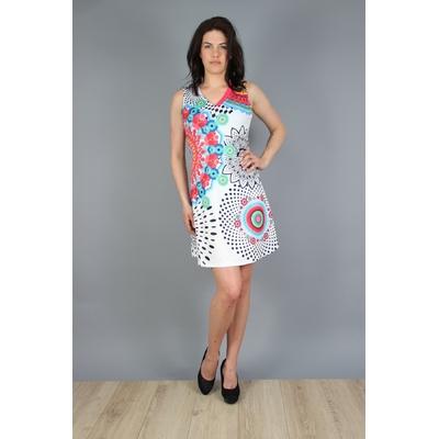 robe 101 idées évasée à imprimé graphique corail