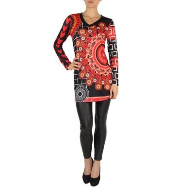Robe 101 idées tunique imprimé coeur carreaux noir