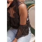 blouse noir femme dentelle choklate marque 80826d