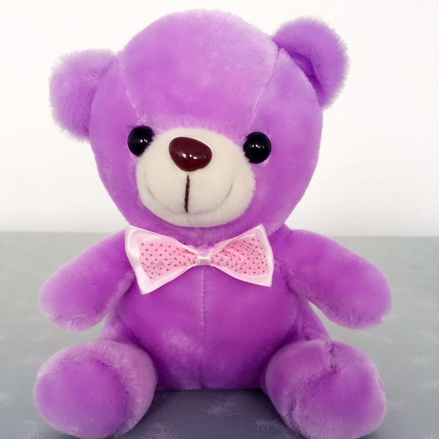 ours en peluche lumineux 20 cm pourpre
