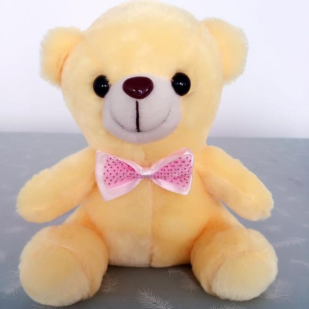 ours en peluche lumineux 20 cm or