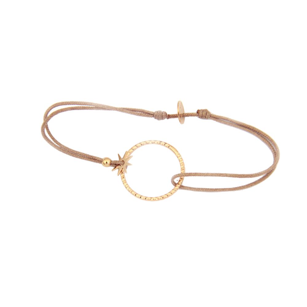 Bien-aimé Bracelet Cordon Anneau Plaqué Or - Rose Kafé - BOUTIQUE SO Bijoux XM38