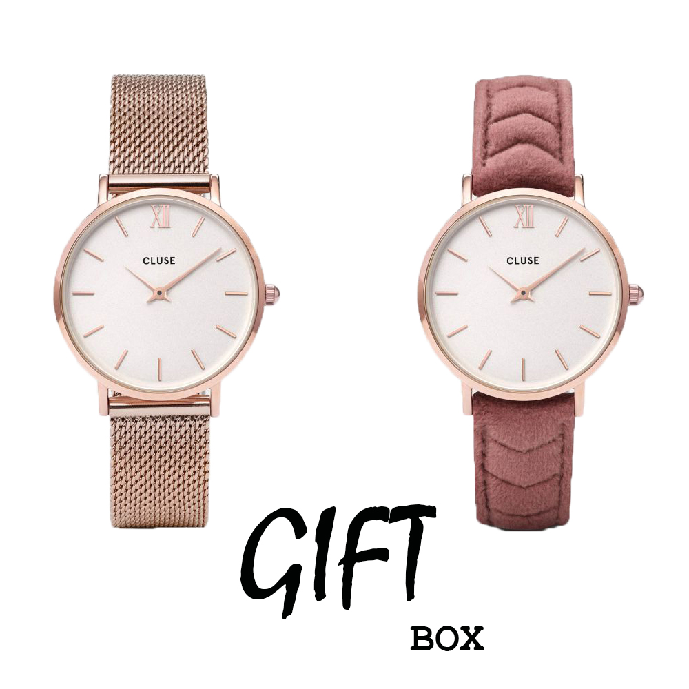 negin x cluse gift box minuit mesh rose gold white pink velvet montres boutique so bijoux. Black Bedroom Furniture Sets. Home Design Ideas