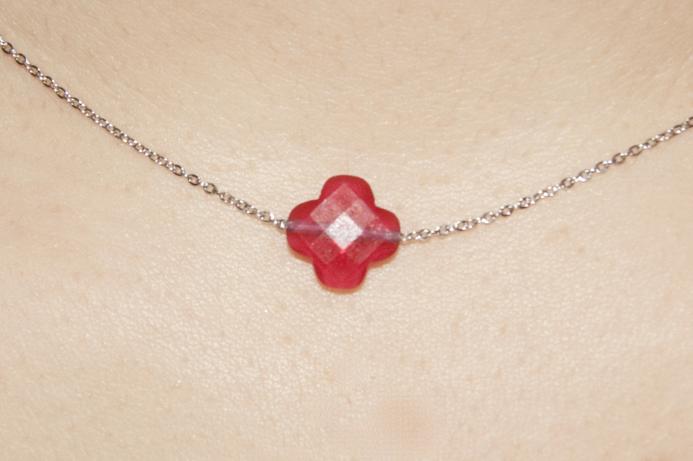 collier argent rouge