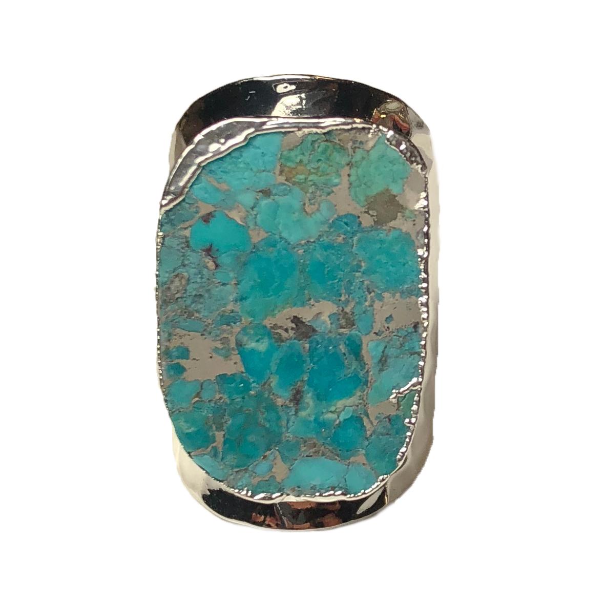 prix modéré conception populaire nouvelle collection Bague Large Silver Pierres Multi-Turquoises