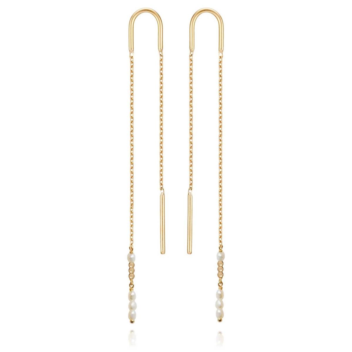 fréquent brillance des couleurs nouveau design Boucles d'Oreilles Perles Extra Longue Or