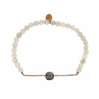Bracelet Marie Agathe Grise Perles Blanches