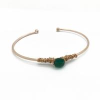 Bracelet Briolette Pierre Quartz Vert Plaqué Or Rose
