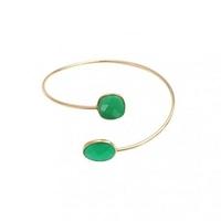 Bracelet Serti Quartz Vert Plaqué Or