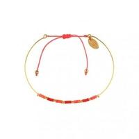 Bracelet Alexandra Coquelicot Framboise Plaqué Or