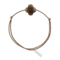 Bracelet Trèfle Cordon Taupe Quartz Fumé