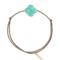 Bracelet Trèfle Cordon Taupe Amazonite