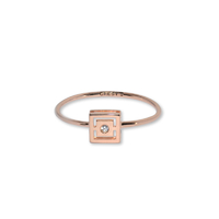 Bague Ibiza Kube Or Rose Serti Diamant