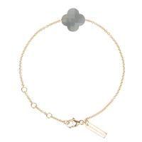 Bracelet Friandise Or Jaune Trèfle Pierre de Lune Grise